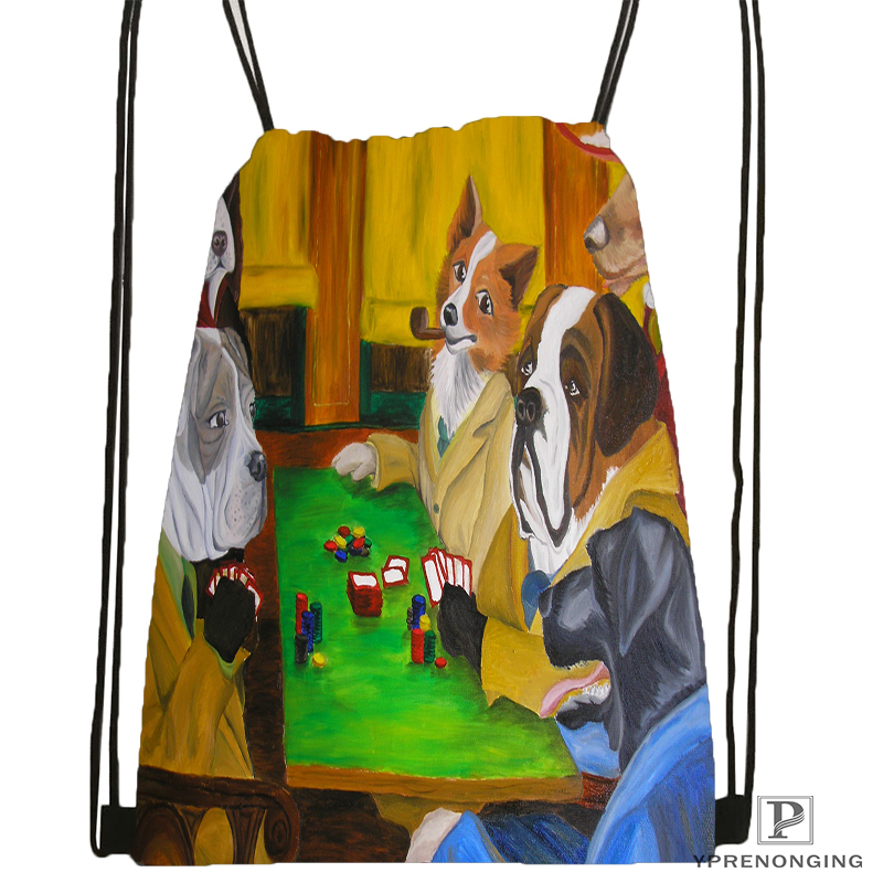 Custom Dogs Playing Poker  Drawstring Backpack Bag For Man Woman Cute Daypack Kids Satchel (Black Back) 31x40cm#180531-01-36