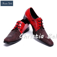 Christia Bella New Arrival Patchwork Sapato Masculino Square Toe Men Dress Shoes Chunky Heels Zapatos Hombre Plus Size 38 47