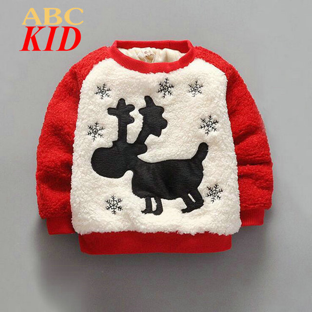 Winter Warm Sweatshirt Kids Boys Girls Fleece Tops Sweater With Deer Boy Thick Shirt Kids Clothes New Year Girl Clothes KD261