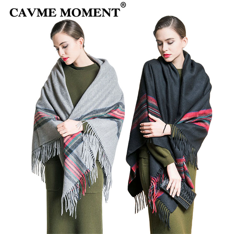 CAVME 2019 Largue Wool Pashimina for Women Ladies Tassels Scarf Shawls in Gray Black Color Winter