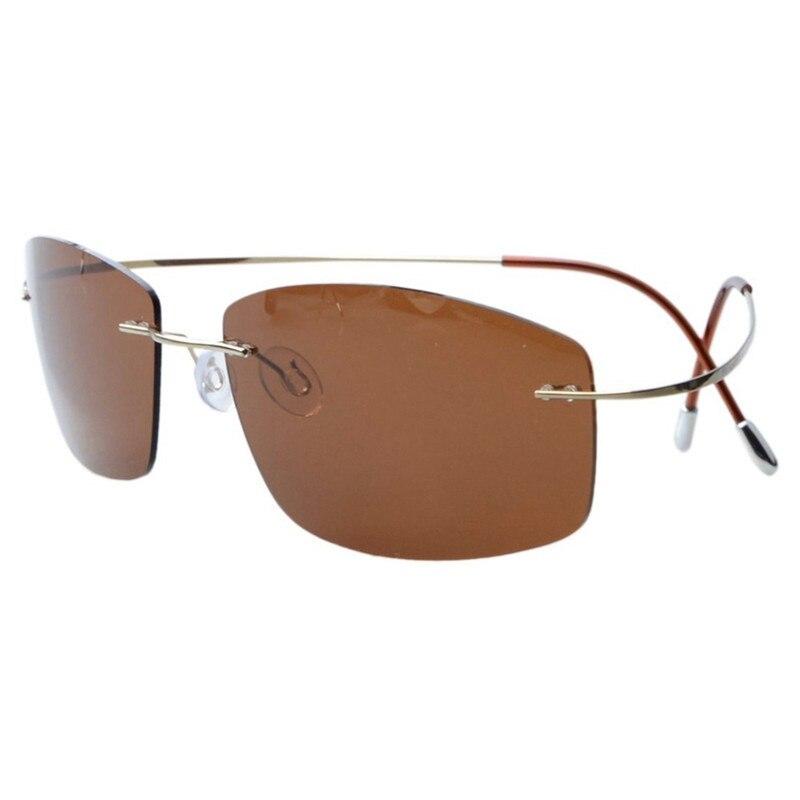 Ultra-light Non-screw Non-hinge Rimless Titanium Frame Gray Green Brown Polarized Sunglasses Driving Fishing Travel Sun Shade