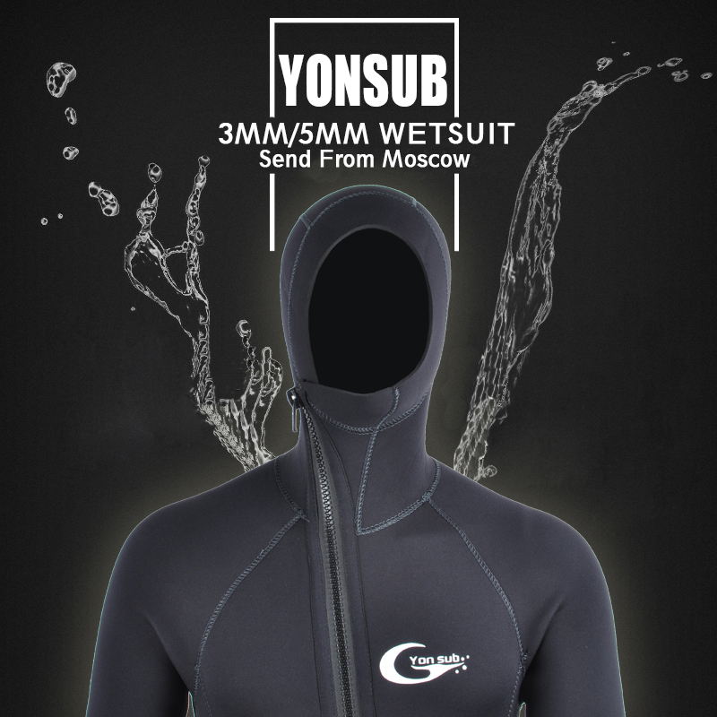 YON SUB 3 MM / 5 MM Musim Dingin Hangat Neoprene Scuba Diving Wetsuit 5mm Pria Hood Berselancar Ritsleting Depan Snorkeling Spearfishing Diving Suit