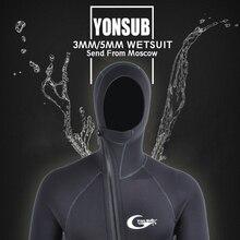 Yon sub 3 мм/5 мм зима теплый неопреновый костюм для дайвинга 5 мм Для мужчин капюшон серфинг на молнии спереди для подводного плавания для подводной охоты водолазный костюм