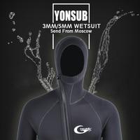 YONSUB Wetsuit 5 mm / 3 mm Scuba Diving Suit Men Neoprene Underwater hunting Surfing Front Zipper Spearfishing Snorkeling Suit