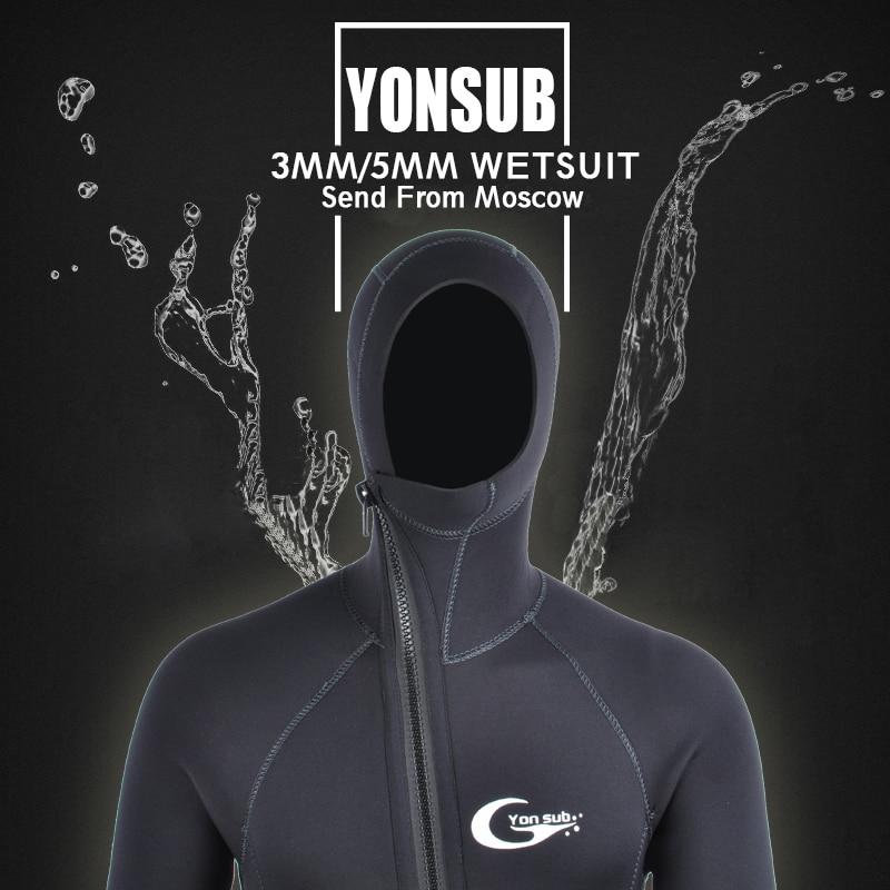 YONSUB Wetsuit 5mm / 3mm Scuba Diving Suit Men Neoprene Underwater hunting Surfing Front Zipper Spearfishing Snorkeling Suit