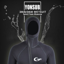 YON SUB 3MM/5MM Winter Warm Neoprene Scuba Diving Wetsuit 5mm Men Hood Surfing Front Zipper Snorkeling Spearfishing Diving Suit(China)