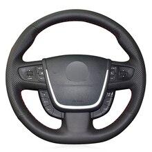 Черный PU искусственная кожа DIY ручной сшитый чехол рулевого колеса автомобиля для peugeot 508 2011-2008 508 SW 2011-2008