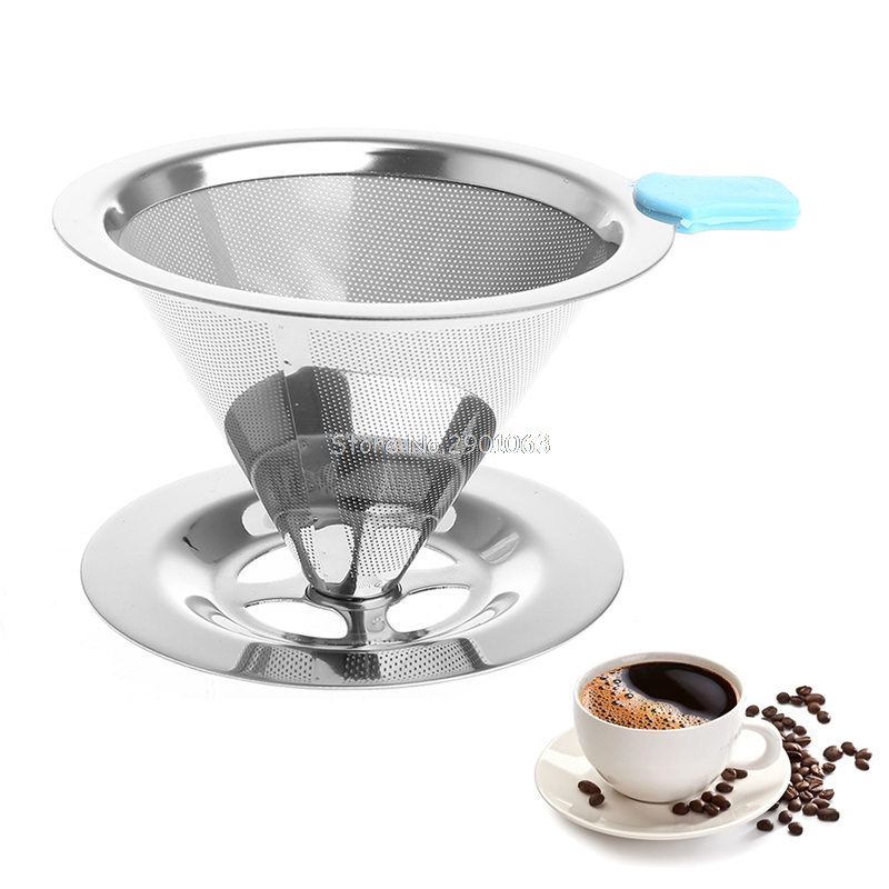 Portable Metal Stainless Steel Coffee Filter Funnel V type Cup Filters Tea Tool H06