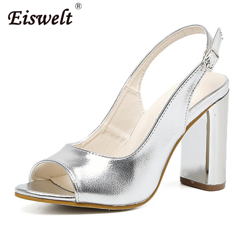EISWELT Women Spring Summer Peep Toe Buckle Pumps Somen Sexy Super High Heels Solid Shoes Fashion Fish Mouth Square Heels#ZQS289 in the summer of 2016 the new wedge heels with fish in square mouth denim fashion sexy female cool shoes nightclubs