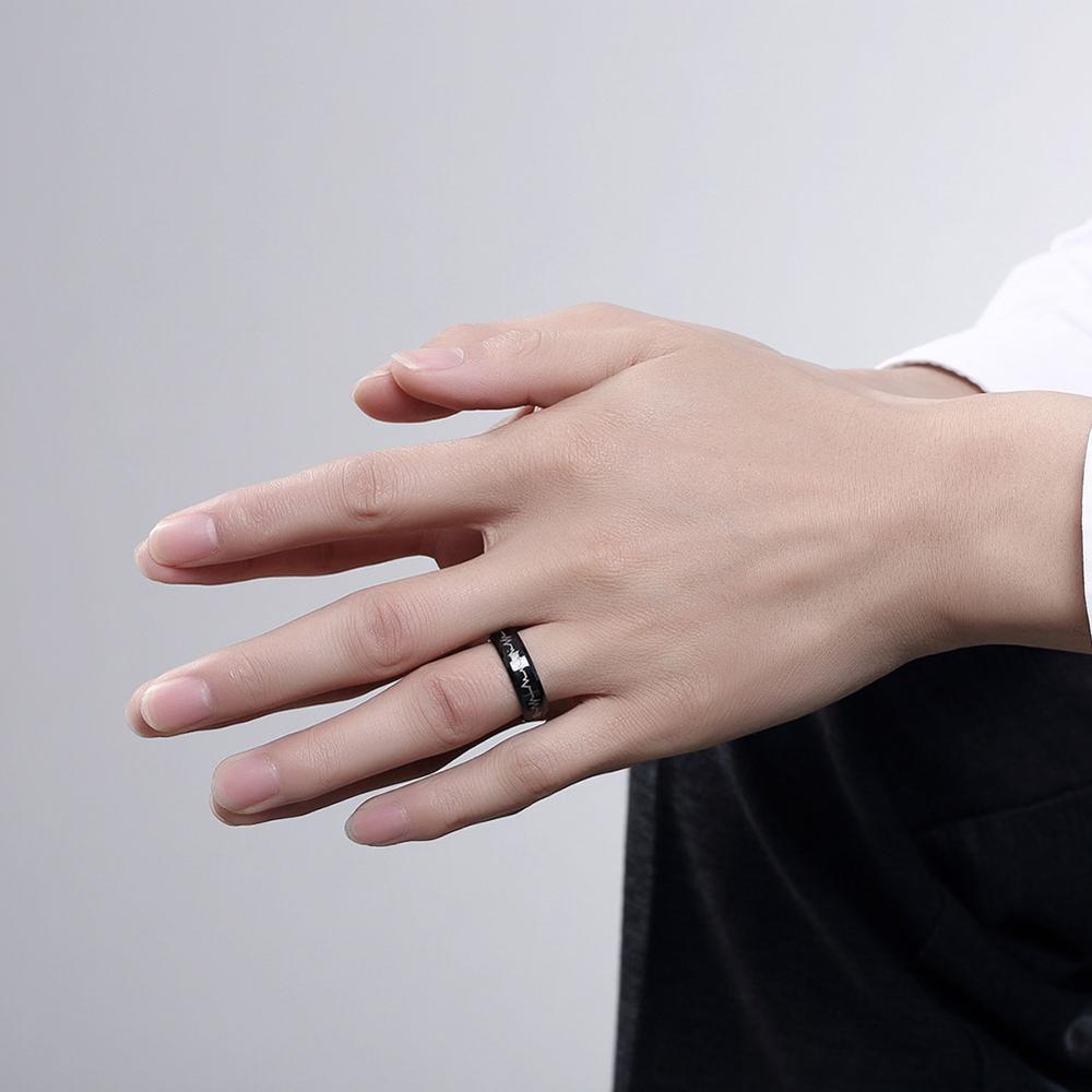 New Style Black Gun Plated Men\'s Ring Electrocardiogram Heart Beat ...