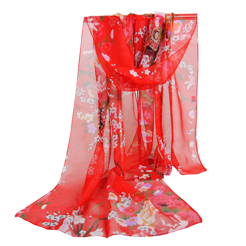 Hot NEW Red Charming Floral Pattern Printed Chiffon Anti-UV Scarf For Women