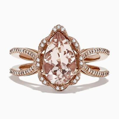 Huitan Luxury Water Drop Shaped Women Ring Hollow Band With Pear Champagne Cubic Zircon Micro Paved Present