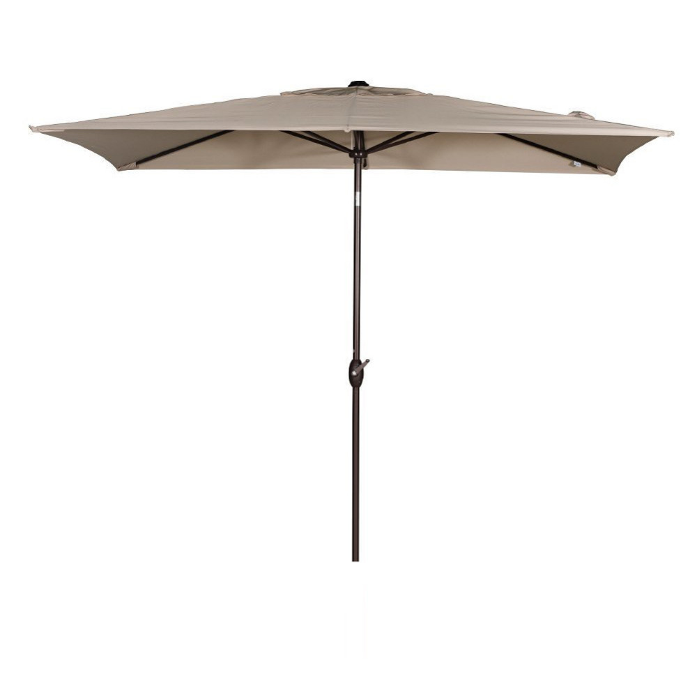 Abba Patio 6.6 By 9.8 Feet Rectangular Market Outdoor Table Patio Umbrella  With Push Button Tilt And Crank Beige