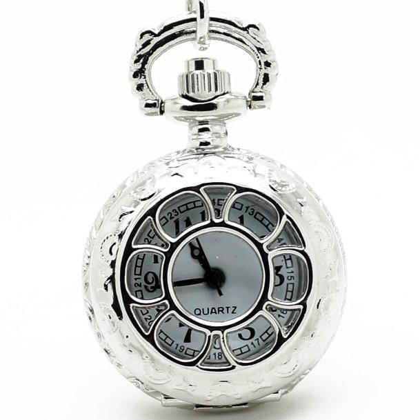 3009) 12 шт/партия винтажные Цветочные полые прозрачные стимпанк женские ожерелья карманные часы, вечерние подарок - Цвет: Silver
