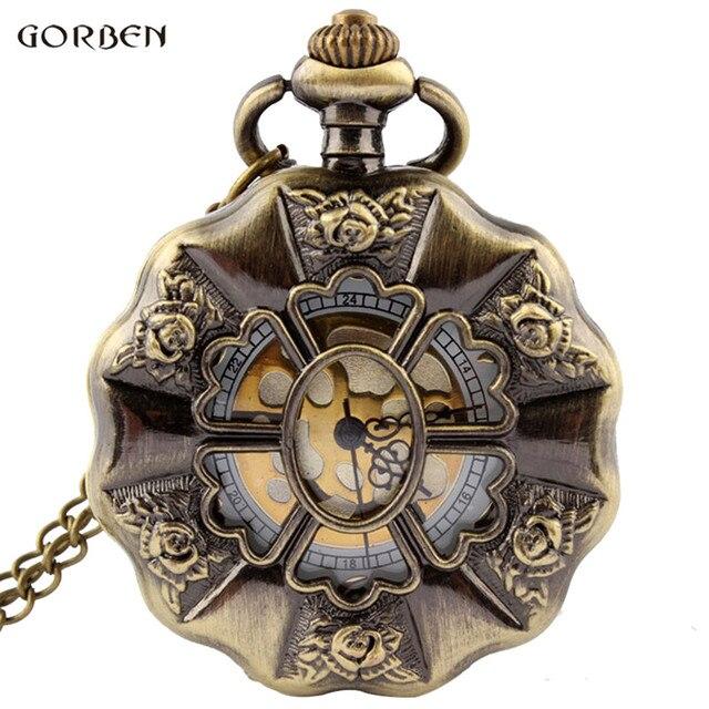 Vintage Bronze Rose Flower Full Steel Steampunk Pocket Watch With FOB Chain Uniq