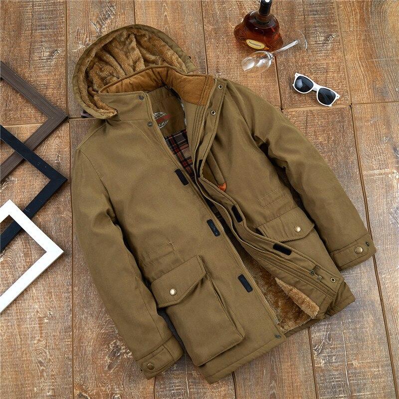 TIEPUS зимняя куртка мужская 6XL 7XL 8XL средний возраст Толстая теплая парка Мужская Мульти-карман карго куртка пальто ветровка с капюшоном одежд...