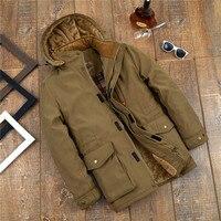 TIEPUS зимняя куртка мужская 6XL 7XL 8XL средний возраст Толстая теплая парка Мужская Мульти-карман Куртка карго пальто ветровка с капюшоном одежд...