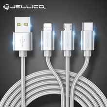 Jellico 3 In 1 USB Cable For iPhone Fast Charging Cable For Android Micro USB Ty