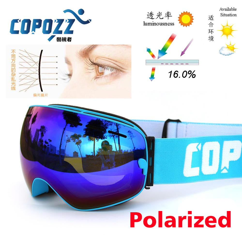 Polarized COPOZZ ski goggles double lens UV400 anti fog big lagre glasses skiing men women snowboard