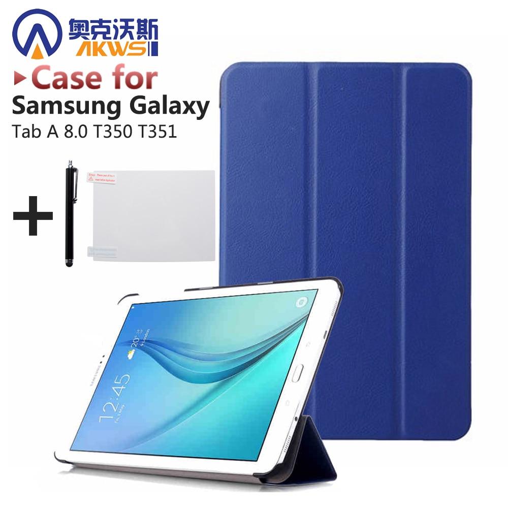 Cuero PU soporte funda para Samsung Galaxy Tab 8,0 T350 T351 Tablet (Tab 8 SM-T350 SM-T351) + Protector de pantalla + Stylus Pen