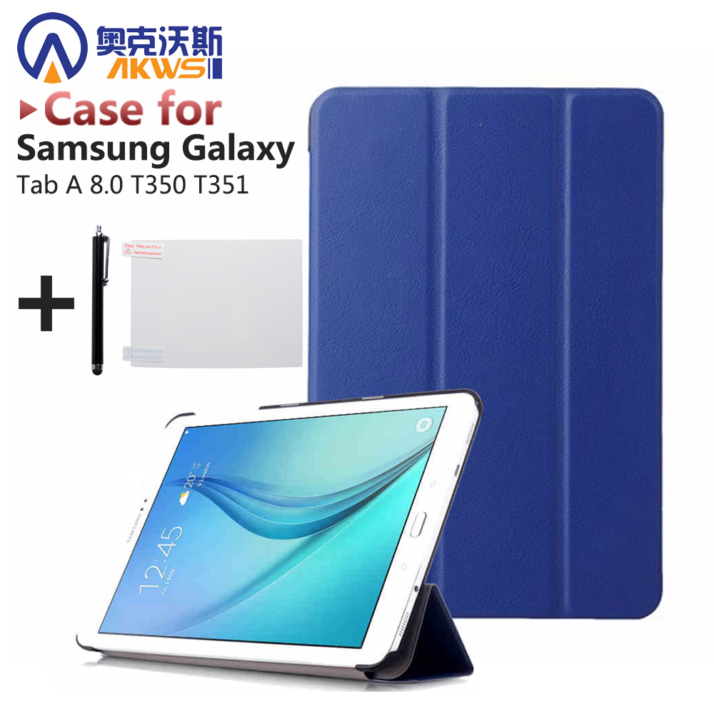 PU Leather Stand Cover Case for Samsung Tab A 8.0 T350 T351 Tablet (Tab A 8 SM-T350 SM-T351) + Screen Protector + Stylus Pen magnetic stand smart pu leather cover for lenovo tab 4 8 tb 8504f 8504n 8 0 tablet funda case free screen protector stylus pen