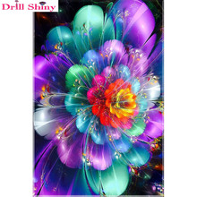 Drill Shiny Diamond Embroidery ColorfulFlower 5D DIY Painting Floral Paint Rhinestone Cross Stitch Decoration