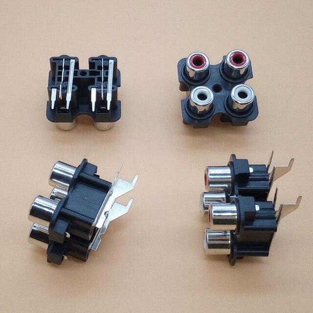 2 יחידות 4way 6Pin תקע RCA נקבה אודיו וידאו AV חרותת Socket מחבר