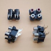 цена на 2pcs 4way 6Pin RCA Female Audio Video Plug AV Concentric Socket Connector