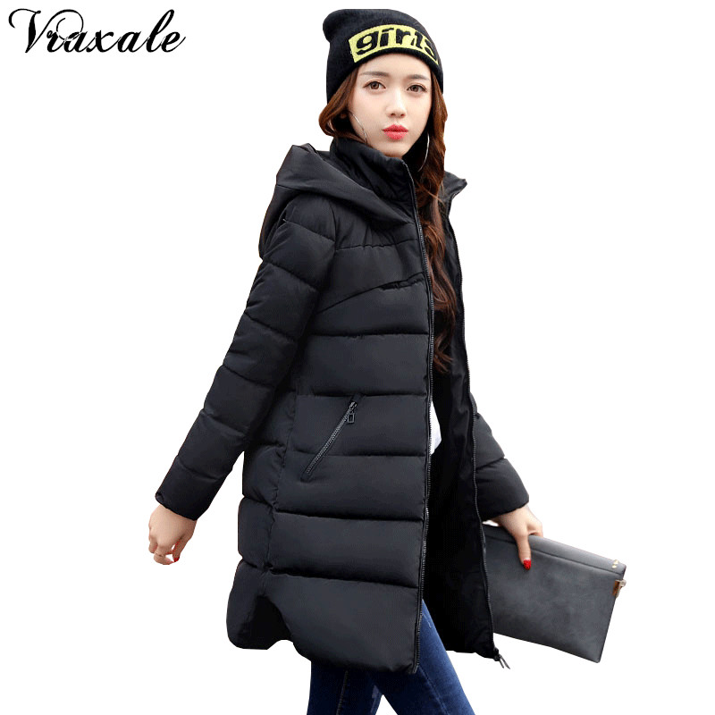 Vraxale Winter New Plus size Jacket Women 2017 Fashion Slim Medium-long Cotton-padded Hooded Jacket Parkas Female  Outerwear linenall women parkas loose medium long slanting lapel wadded jacket outerwear female plus size vintage cotton padded jacket ym