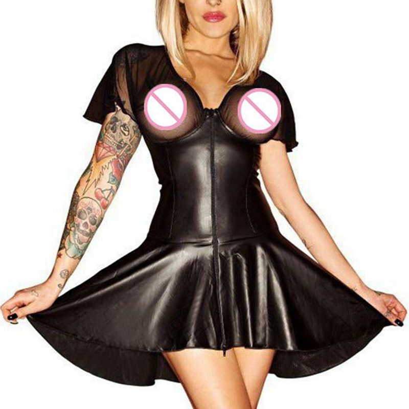 2018 New Pole Dancing Dress New Arrival Women Catsuit Faux Leather Dress DS Latex Costume Sexy Mesh Mini Dress Plus Size XXL