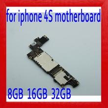 100% Оригинал разблокирован для iphone 4S материнская плата с полным чипом, для iphone 4S материнская плата с системой IOS, 8 ГБ/16 ГБ/32 ГБ