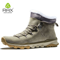 RAX Mens Warm Fleece Boots Walking Shoes Men Breathable Snow Boots Thermal Hiking Shoes Men Hiking Boots Winter Trekking Shoes