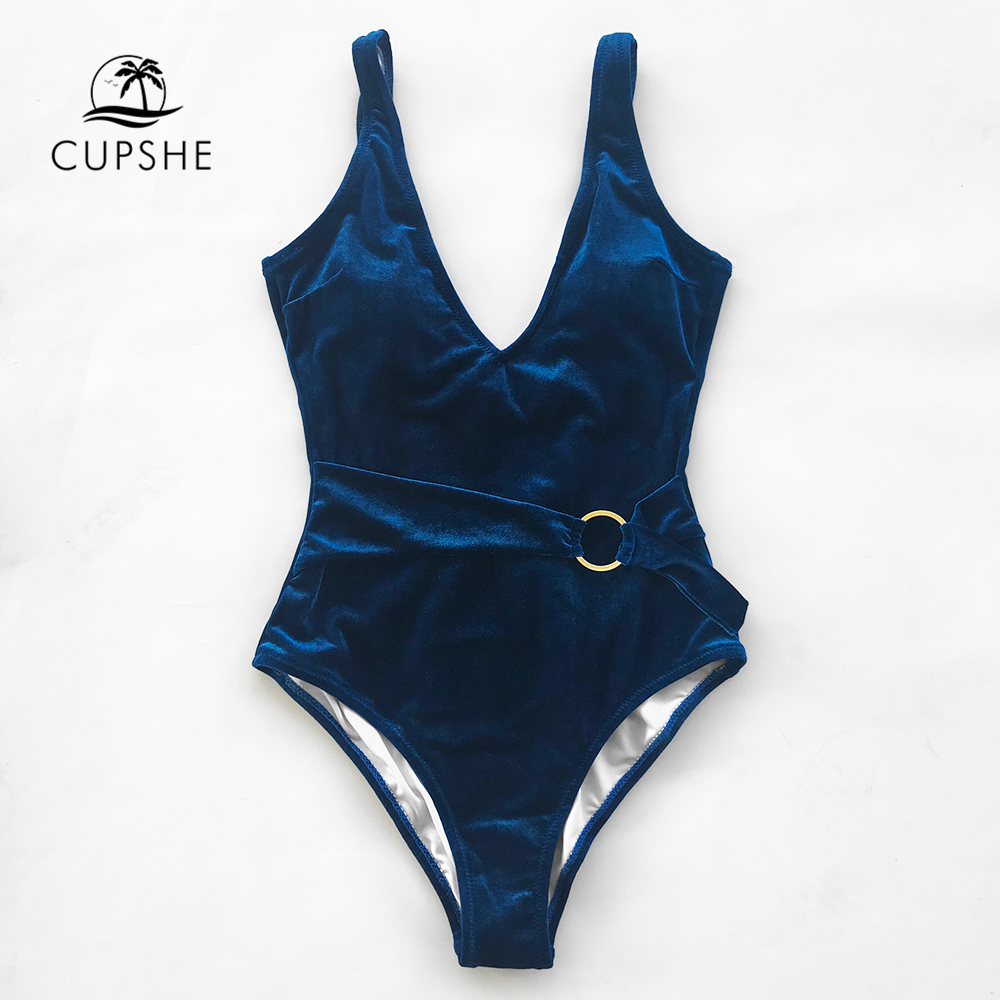 CUPSHE Blue One-piece Swimsuit Women V-neck Cut Out Soild Monokinis With Waistband 2018 Girl Beach Bathing Suit Velvet Swimwear sexy round neck cut out one piece swimwear for women