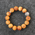 Wholesale Natural Wood Mala Beads Streth Bracelets With Dragon Charm Unisex Buddhism Prayer Meditation Tibetan OM Wrist Jewelry