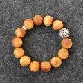 Wholesale Natural Wood Mala Beads Streth Bracelets With Dragon Charm Unisex Buddhism Prayer Meditation Tibetan OM Wrist Jewelry