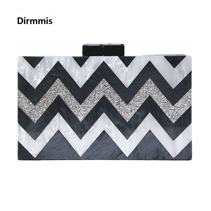 2018 Women Messenger Bag New Brand Fashion Wallet Luxury Party Prom Bag Elegant Lady Evening Bag Casual Striped Acrylic Clutch