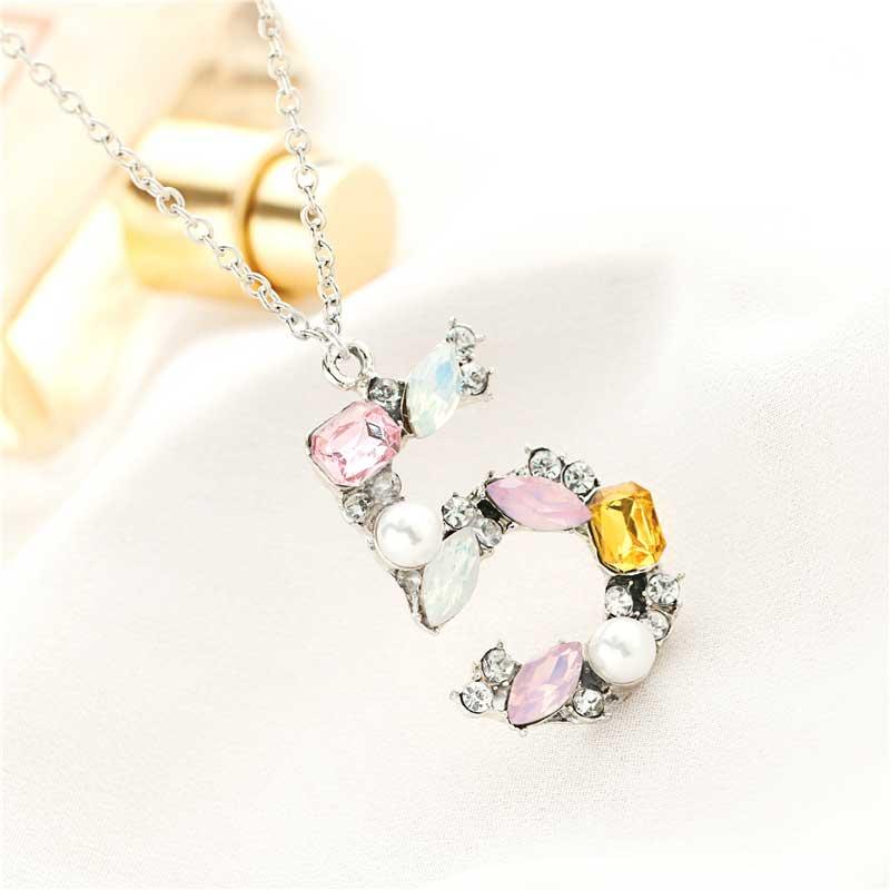 Moda 5 Colar de Pingente de cristal Colorido Strass Colar de pérolas Pingentes de Pedras De Quartzo Presente de Natal Mulheres