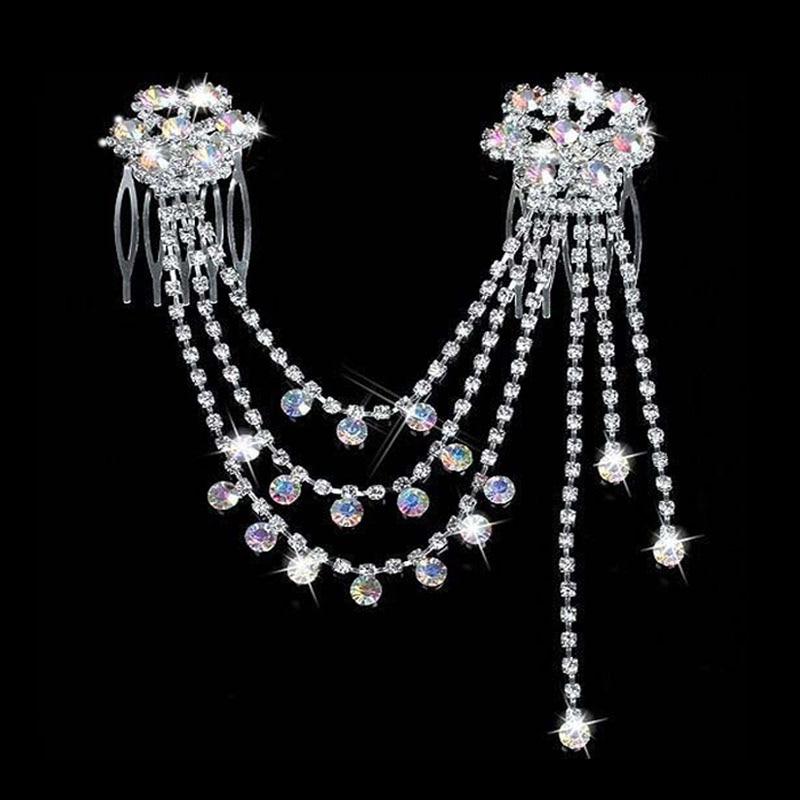 لباس عروس عروس شانه دار سر زنجیره ای نقره ای استیک استیک روسری عروس Acessories تقلید شانه جواهرات مو عروسی