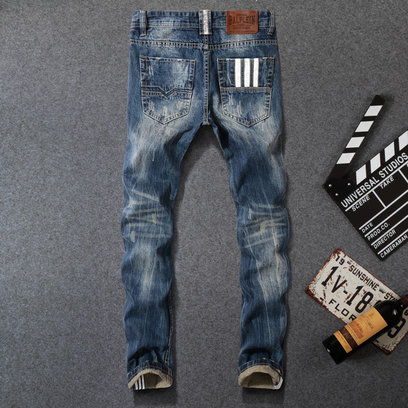 Fashion Classical Men's Jeans Dark Blue Size 29-42 Straight Fit 100% Cotton Buttons Pants Homme Balplein Brand Ripped Jeans Men