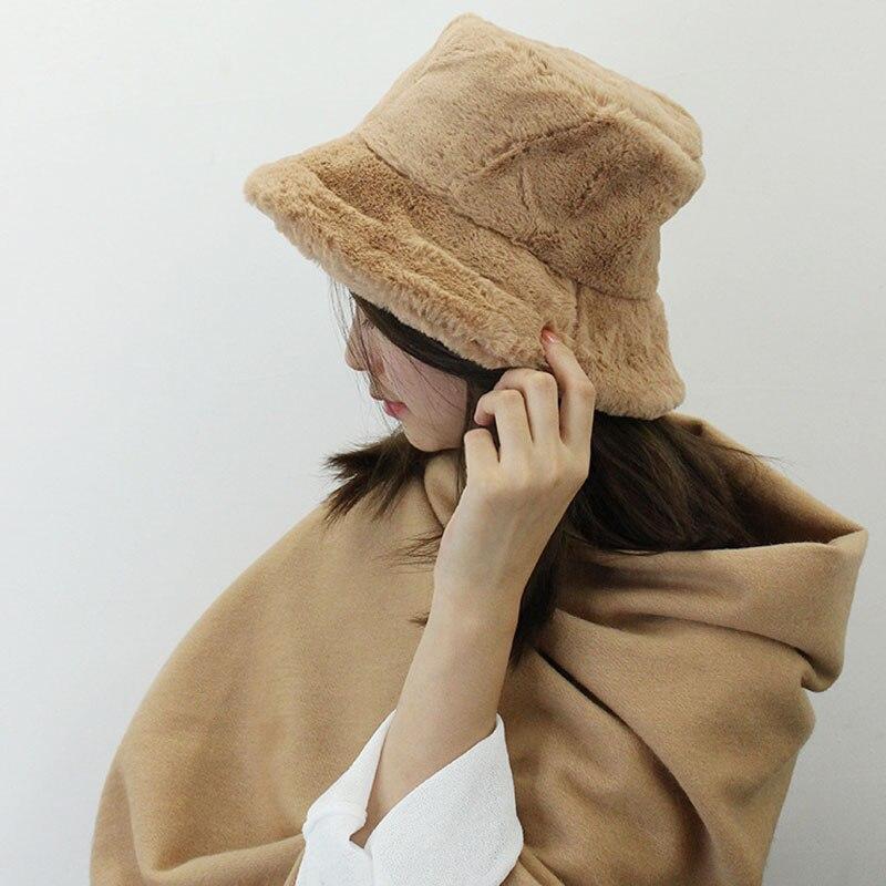 6e55822a50ca3c קנו נשים ' s כובעים | 2018 Fur Thick Warm Winter Bucket Hat Women ...