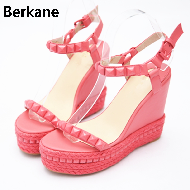 Pink Roman Gladiator Sandals Women 2018 Summer High Heel 12cm Shoes Rivet Peep Toe Wedges Party Casual Zapatos Mujer Plataforma plus size 34 44 summer shoes woman platform sandals women rhinestone casual open toe gladiator wedges women zapatos mujer shoes