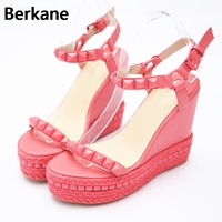Pink Roman Gladiator Sandals Women 2019 Summer High Heel 12cm Shoes Rivet Peep Toe Wedges Party Casual Zapatos Mujer Plataforma