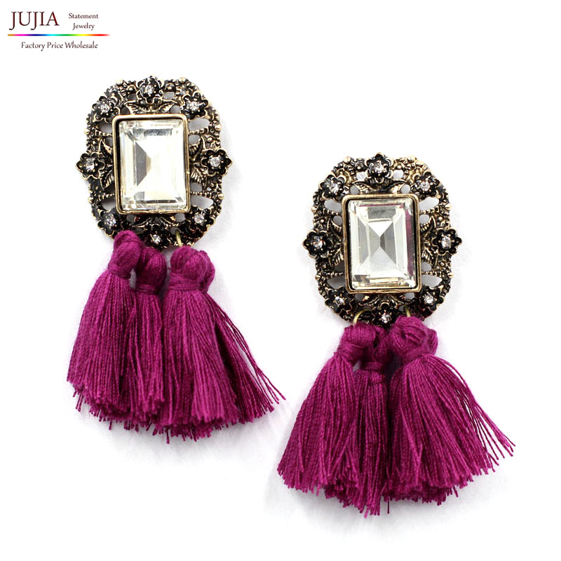 New 2017 fashion jewelry hot sale women crysta vintage tassel statement bib stud Earrings for women jewelry Factory Price