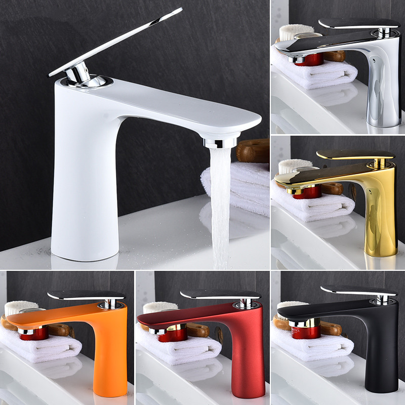 Basin Faucets Hot Cold Sink Mixer Bathroom Basin Tap Brass Gold Chrome White Red Black Bathroom Faucet Crane Sink Tap in Basin Faucets from Home Improvement