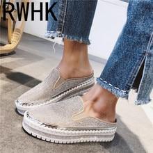 RWHK 2019 new thick bottom muffin womens shoes baotou slippers female rhinestones increase fashion drag B175