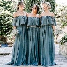 YNQNFS BD8 легкой струящейся шифон оборками Лодка шеи с плеча невесты зеленое платье