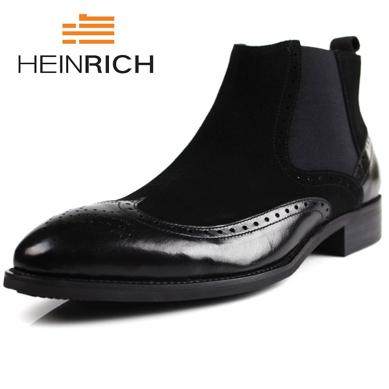 HEINRICH New 2018 High Top Winter Shoes Men Genuine Leather Chelsea Boots Brogue Ankle Motorcycle Boots Botas Mujer InviernoHEINRICH New 2018 High Top Winter Shoes Men Genuine Leather Chelsea Boots Brogue Ankle Motorcycle Boots Botas Mujer Invierno