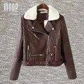 Браун PU кожаные куртки зимние пальто овечьей шерсти воротник декор кожа мотоциклетная куртка весте ан cuir femme LT1077 бесплатная доставка