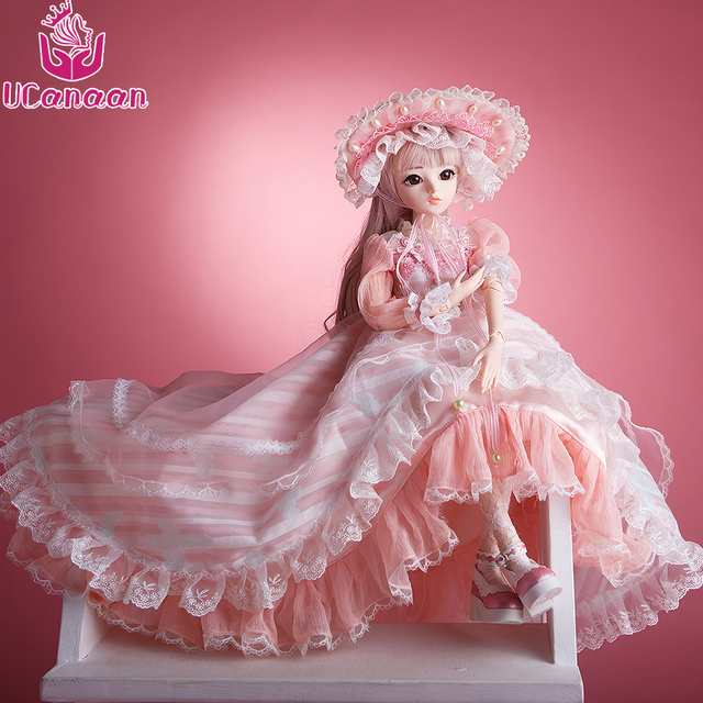 UCanaan 60CM BJD Dolls New Arrival SD Dolls With Outfit Elegant Dress Wigs Shose Hat Makeup Beautiful Dream Girls Toys KD Dolls 3