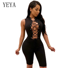 YEYA Summer Playsuit Sleeveless Lace Up Short Rompers Womens Jumpsuit Sexy Hollow Out Bodycon Bandage Bodysuit Overalls